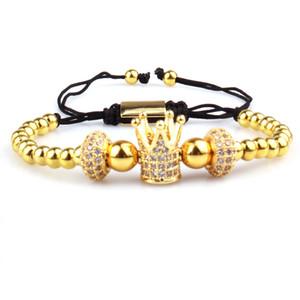 Gioielli avanzati Micro pavimentato CZ Crown Bracelet for Men Pulseira Feminina Homem