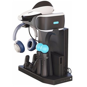 PSVR Charging Display Stand - Showcase, Cool, Charge, and Display for Playstation 4 PS4 VR -Vertical Stand, Fan, Controller Charger and Hub