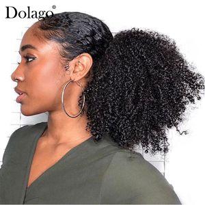 4B 4C Afro rizado Extensiones de cola de caballo rizadas Clip de mongol de una pieza en extensión de cabello humano Cola de caballo Color natural Dolago Remy