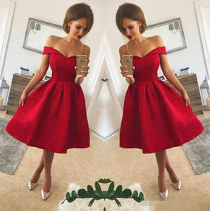 2018 Simple Red Off The Shoulder Satin A Line Short Party Dresses Ruched Knee Length Short Homecoming Cocktail Prom Gowns