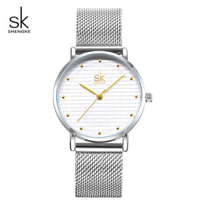 Shengke Women Bracelet Watches Luxury Stainless Steel Ladies Quartz Wristwatch Reloj Mujer 2018 SK Women Watches Christmas Gift Y18110310