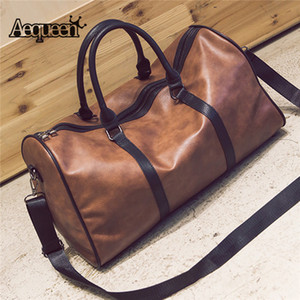 AEQUEEN 2018 Traveling Tote PU Leather Duffle Handbag Men Women Large Capacity Luggage Bag Big Retro Shoulder Bag Female