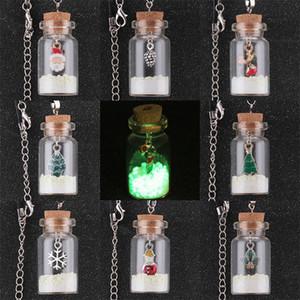 HOT Boneco De Neve De Natal deixa a garrafa de vidro pingente luminoso perfume difusor colares de óleo essencial difusor medalhão colares pode ser aberto
