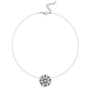 Argento colore abbagliante collana zircone e invisibile trasparente linea di pesca semplice collana gioielli ciondolo per le donne