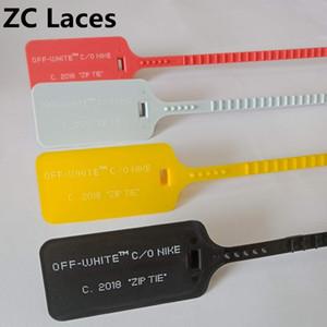 Kunststoff Woven Schnalle Bunte Streifen Zip Tie Lock System für Turnschuhe Schuh Zubehör Druck Buchstaben Zip Tagf für Sportschuhe