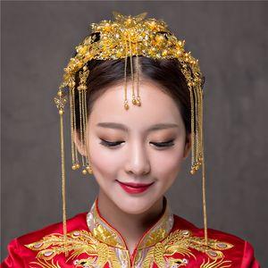 Chinesische klassische Hochzeit Haarschmuck Braut Kostüm Kopfschmuck Frontlet Coronet Haarnadeln Brides Headbans Haar Sticks Kämme X912