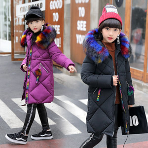 2018 meninas roupas de algodão acolchoado outerwear casaco de inverno crianças roupas quentes moda parka multicor gola de pele jaqueta 3-16 y