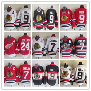 Vintage Detroit Red Wings 24 Chris Chelios Jerseys Retro Classic Blackhawks 7 Chris Chelios 9 Bobby Hull Stitched Jersey Ordine Mix