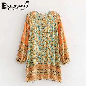 Everkaki Women Boho Gypsy Stampa floreale Mini abito in cotone Button O Collo manica lunga Allentato Bohemian Dress Donna 2018 Estate New