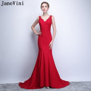 wholesale Elegant Red Mother of The Bride Dresses 2018 Mermaid V Neck Lace Appliques Beaded Plus Size Evening Gowns Vestido Largo