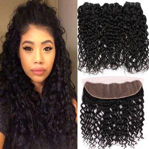 8a Paquetes Indian Wave Wave con cierre frontal de encaje El cabello humano mojado y ondulado teje 3 paquetes con cierre 13x4 frontal de encaje 4PCS