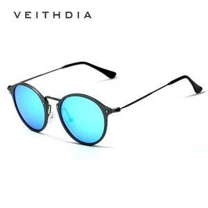 VEITHDIA Marke Designer Mode Unisex Sonnenbrille Polarisierte Beschichtung Spiegel Sonnenbrille Runde Männliche Brillen Für Männer