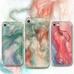 럭셔리 폰 케이스 iphone X 5 6 7 8 plus case의 다채로운 잉크 페인팅 Creative Soft TPU 전신 커버 12 색