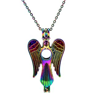 C51 Rainbow Color Angell Wing Beads Cage Pendant Essential Oil Diffuser Aromatherapy Pearl Cage Locket Pendant Necklace