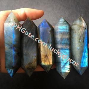 Полированный лабрадорит с двойным наконечником исцеления Жезл с точечной гранью Природный лабрадорит Кристалл Вспышка Магический минерал Рейки Метафизический камень