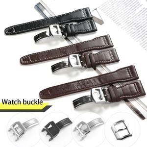 22mm IWC Büyük Pilot İzle için Spor Naylon Deri Adam Su Geçirmez Watch Band Kayışı Watchband Bilezik ile Siyah Mavi Kahverengi Adam Araçları