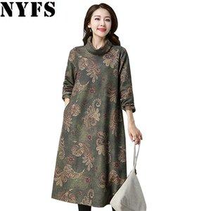 NYFS 2018 Nouveau Style Automne Hiver À Manches Longues Robe Vintage lâche Impression Coton Femmes Robe Robes Robe Robe