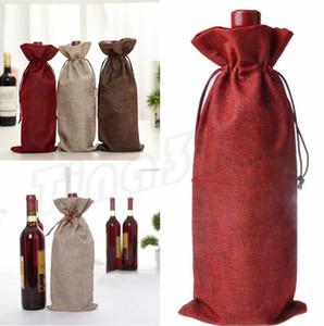 Sacchetti di vino Champagne bottiglia di vino coperture Regalo Del Sacchetto di Tela Sacchetto di imballaggio Decorazione Della Festa Nuziale coulisse copertura Rifornimenti Del Partito I408