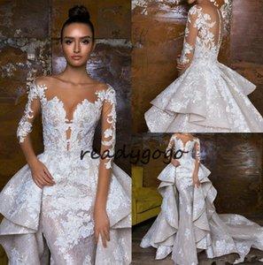 2018 Gorgeous Mermaid Wedding Dresses With Detachable Train robe de mariée Lace Bridal Gowns Long Sleeve Wedding Dress