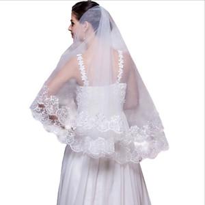 Projeto Barato das Mulheres Barato elegante Duas Camadas de Marfim Bridcage Véus De Noiva Apliques Decoração Para Venda