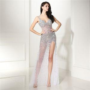 Ver a través de vestidos de noche de lentejuelas rebordear lujo zuhair murad sexy vestido de noche de las mujeres vestido de fiesta 2018