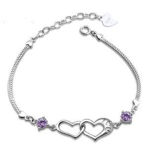 Argent sterling 925 Bracelets Coeur Chaînes Bonheur Signal Double Coeur 3A Violet Blanc Cristal Bracelets Saint Valentin Bijoux Cadeau Pas Cher