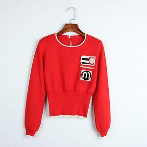 2018 Brand Same Style Sweater Azul / Rojo Regular Manga Larga Cuello Redondo Paneled Prom Sweater Moda Mujer Ropa DL