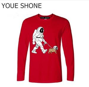 Erkekler SpaceX Uzay Gemisi tshirt Astronot Köpek Serin Tişört Roket homme StarmanX Uzay köpek Yürüyüş Ölü uzun kollu Tees Tops