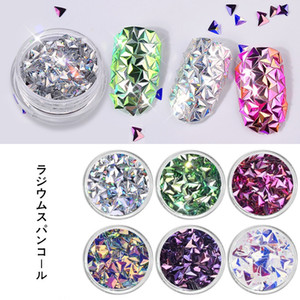 3D Art Fake Laser Triangular Flashing Chrome Pigments Sequins Nail Flakes Glitter Powder Decals DIY Nail Decoration