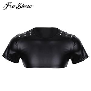 Nuevo Mens Soft Faux Leather Short Sleeve Crop Top tachonado Músculo Half Tank Top Clubwear Etapa Traje Tops de cultivo