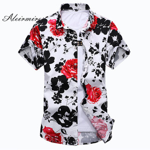 New Fashion Floral Print Hawaiian Shirt Men 2017 Summer Short Sleeve Flower Big Size 6XL 7XL  Men's Casual Shirt Aleirmires
