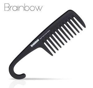 Brainbow 1 pc escova de cabelo de plástico grande dente pente com gancho anti-estático grande pente grande para o cabelo reto ondulado cuidados com o cabelo styling ferramenta