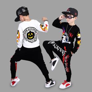 Conjuntos de Roupas de Halloween Crianças Meninos Conjuntos de Roupas de Lazer Esportes de Hip Hop Dos Desenhos Animados Impressão de Algodão Roupas Roupas Para Casa 2 pçs / set DHL WX9-958