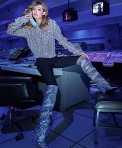 Nouvelle liste Crystal haute bottes au genou tête diamant plein luxe luxe sexy style européen bottes à talons hauts chevalier défilé