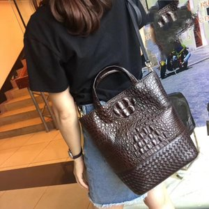 Fashion Two-sets Genuine Crocodile Leather Female Knitting Handbag Lady Composite Bag Alligator Skin Woman Shoulder Bag