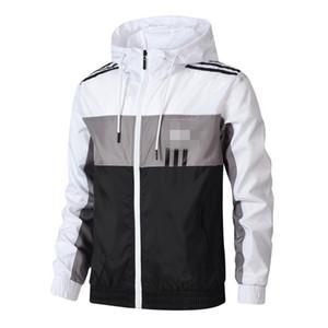 Marca listrado Mens Jackets Projeto Windbreaker padrão do impressão do revestimento do outono Zipper Casacos fina corrente Sportswear Hoodies