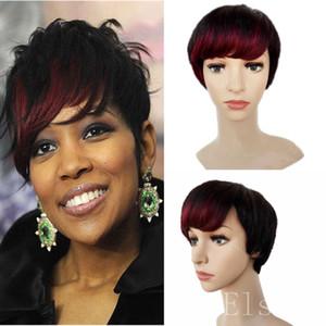 Perruques BOB courtes 1b # frange rouge Pixie coupe courte perruques de cheveux humains pour les femmes noires bob perruques avant de lacet avec des cheveux de bébé