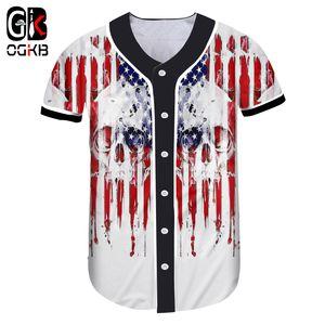 OGKB Baseball 3d American Flag Skull Print Unisex Camisa de Manga Corta Mujeres / hombres Culturismo Ropa Fitness 5xl Tee Tops