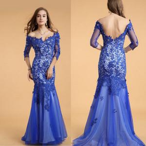 Кружева V-образным вырезом синий Половина рукава Backless Длинные выпускные платья 3/4 рукава кружева Русалка длинное вечернее платье Sexy