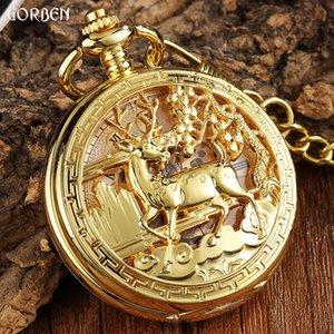 시계 꽃 기계식 FOB 사슴 디자인 포켓 시계 골드 조각 허리 체인 Steampunk 포켓 해골 중공 시계 남자 XKCRT