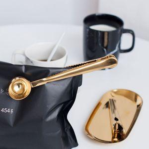 Or en acier inoxydable Café Scoop Sac multi-fonctionnel d'étanchéité clip au sol cuillère à café Drinkware Tools Livraison gratuite