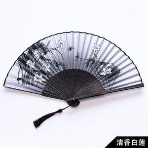 Ventilador de Dobramento Estilo Chinês Para Acessórios De Noiva Pintura Borboleta Flor De Lótus Feito à Mão Ventiladores De Seda Para A Festa de Casamento Em estoque ventilador de Mão