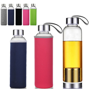 Newest 22oz Glass Water Bottle BPA High Temperature Resistant Glass Sport Water Bottle With Tea Filter Infuser Bottle Nylon Sleeve HH7-1087