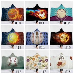 Coperta da baseball Calcio Calcio Softball coperte con cappuccio 3D stampato Sport Sherpa Coperta Bambini Adulti Inverno Peluche Capes Asciugamani 8pc GGA1848