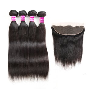 10A Grade Brazilian Virgin Hair Bundles with Lace Frontal Straight Human Hair Extensions Natural Clolor Weaves Frontal Ear to Ear Wholesale