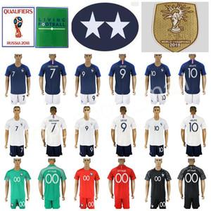 Мужчины футбольные наборы установлены шорты брюки 7 Antoine Griezmann рубашка 9 Оливье Giroud 10 Kylian MBappe футбол Джерси Фрэнк ледяной дом Blue White