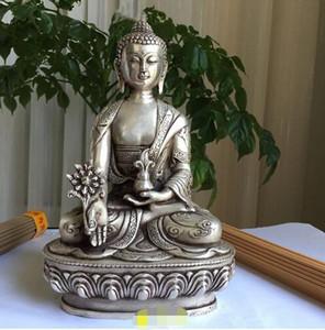 China Plata Budismo fino dragón Po Sang Buddha Lotus asiento Escultura Medicina Buda Estatua