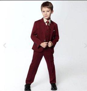 Индивидуальные красного вина одного качества пряжки костюм мальчика костюм-тройка (пиджак + брюки + жилет) мальчик троистыми костюм платье