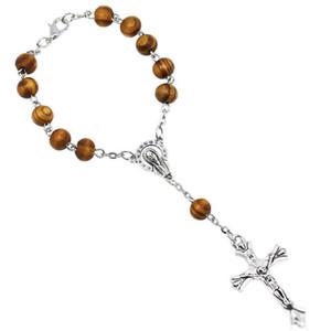 8 MM De Madeira Talão Pulseira Do Rosário Católico Mulheres Religiosa Cristianismo Virgem Maria Jesus Cruz Crucifixo Pulseira transporte da gota