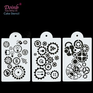 Mechanical Gear Screw Cake Stencil Strew Pad Baking Mould Cupcake Wall Painting Album Decorative Embossing Cards DIY Craft Tool